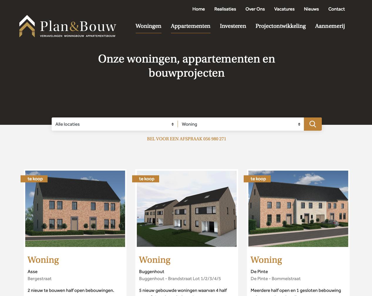 Een nieuwe website voor Plan & Bouw inclusief koppeling met Fortissimo door Wizarts, een communicatiebureau in Lochristi