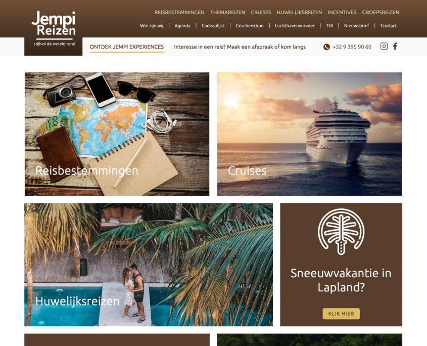 Homepagina van de nieuwe website van Jempi Reizen, een reisbureau in Lochristi, ontworpen door Wizarts